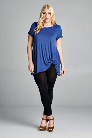 Denim Blue Twist Tunic Top