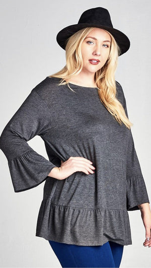 Charcoal Tunic Top With Ruffle Bell Sleeves