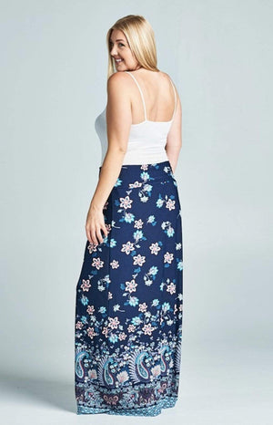 (2XL, 3XL) - Navy Floral And Paisley Maxi Skirt - Hello, Sunshine Market