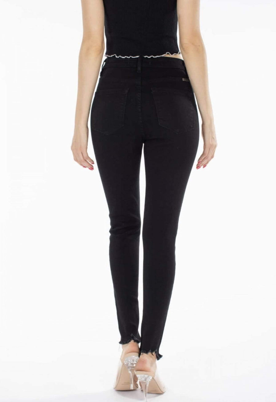 Black High Rise Button Fly Skinny Jeans