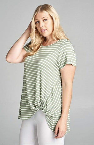 Sage Stripe Tunic Top With Side Twist