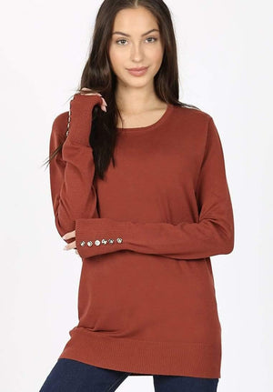 Rust Round Neck Sweater