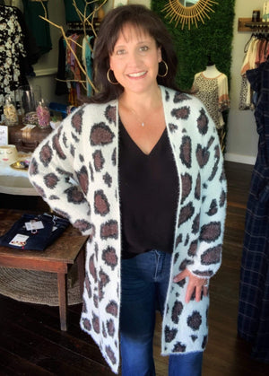 Cream Animal Print Cardigan