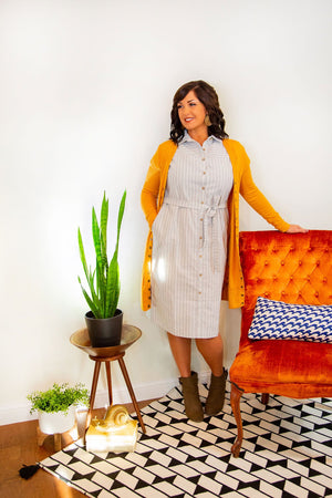 Grey Striped Shirt Dress - Hello, Sunshine Market