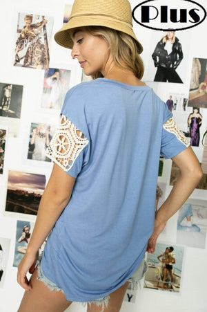 Blue Twist Knot Top With Lace Sleeve