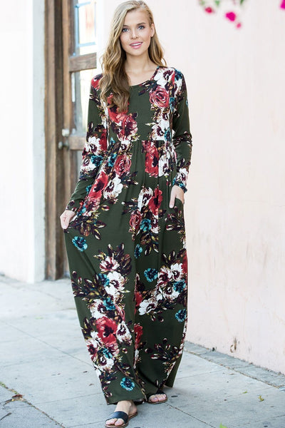 Olive Floral Maxi Dress - Hello, Sunshine Market