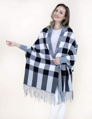 Black Buffalo Check Sweater Shawl Cardigan