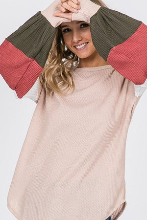 Color Block Bishop Sleeve Top