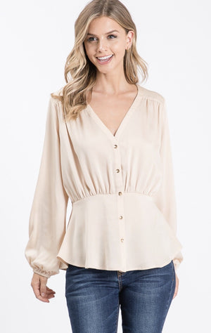 Cream Satin Long Sleeve Blouse