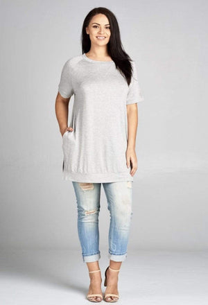 (3XL) - Heather Grey French Crew Neck Tunic Top
