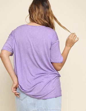 (XL, 1XL) - Purple Washed Short Sleeve Top With Waist Knot