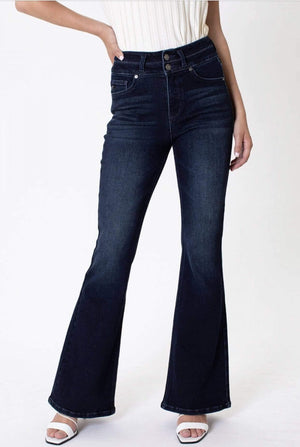 High Rise Double Button Flair Jeans - Hello, Sunshine Market