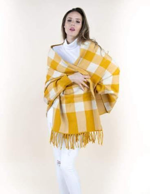 Mustard Buffalo Check Sweater Shawl Cardigan