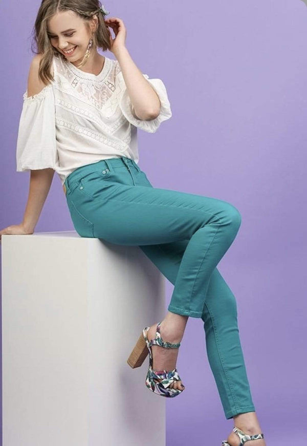 Light Green Stretch Skinny Jeans