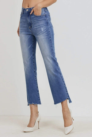 High Rise Raw Cut Denim Jeans