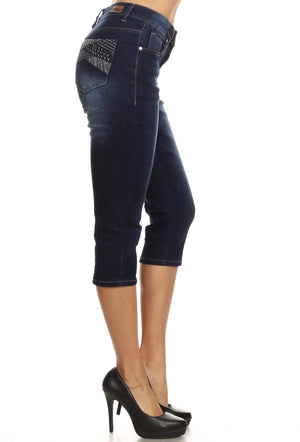 Dark Indigo Denim Capris