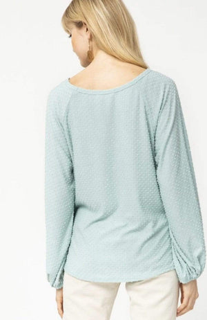Sage Mini Dotted Swiss Round Neck Top