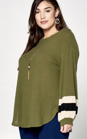 Olive Hacci Brush Top With Baloon Sleeves