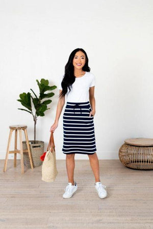 Navy Striped Pencil Skirt