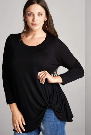 Black Long Sleeve Twist Tunic Top