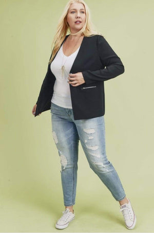 Black Blazer With Zipper Detail