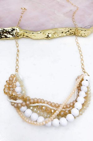 White Glass And Wood Bead Statement Neckless - Hello, Sunshine Market