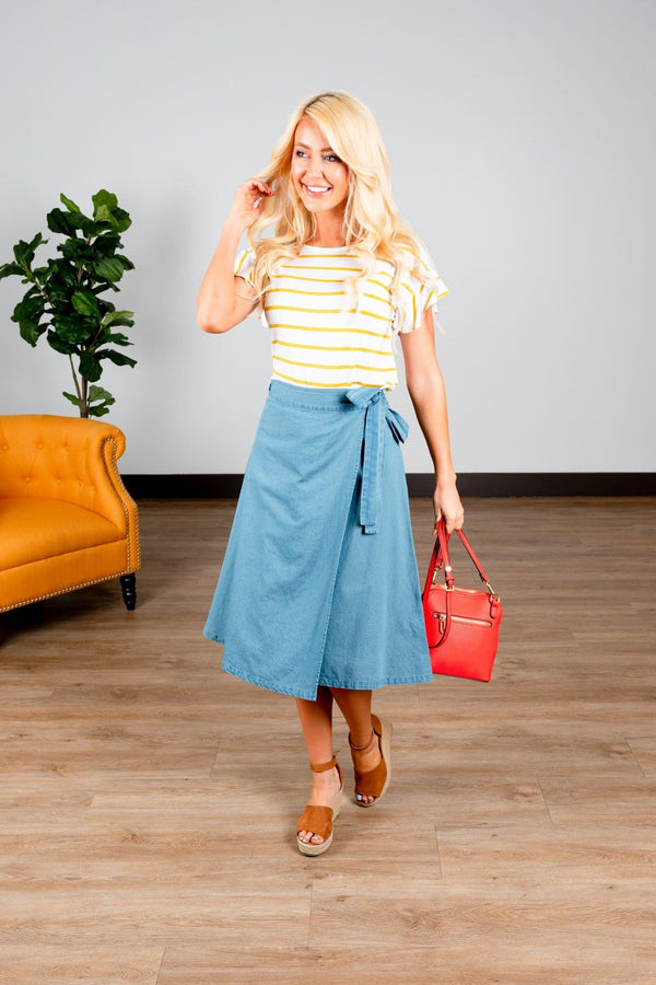 (Small, 2XL) - Chambray Wrap A Line Skirt - Hello, Sunshine Market