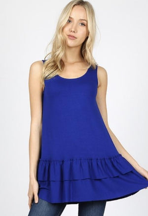 Blue Sleeveless Ruffle Bottom Top