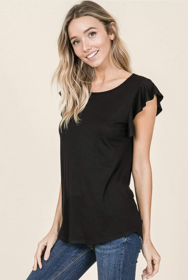 Black Short Sleeve Ruffle Top