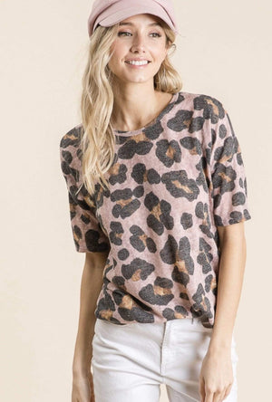 (XL) - Mauve Animal Print Top - Hello, Sunshine Market