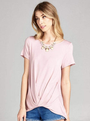 Mauve Casual Top With Front Wrapped Hem