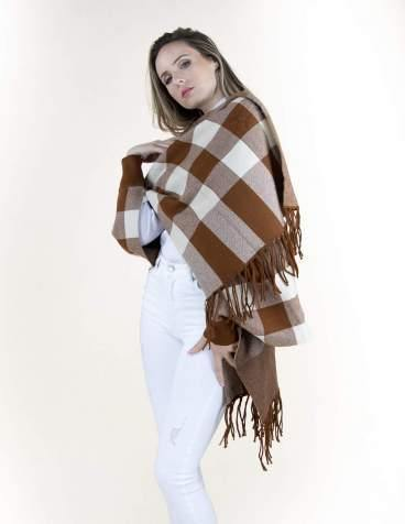 Mocha Buffalo Check Sweater Shawl Cardigan