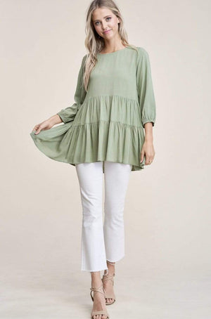 Olive 3/4 Sleeve Top