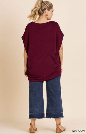 Maroon Dolman Sleeve Top