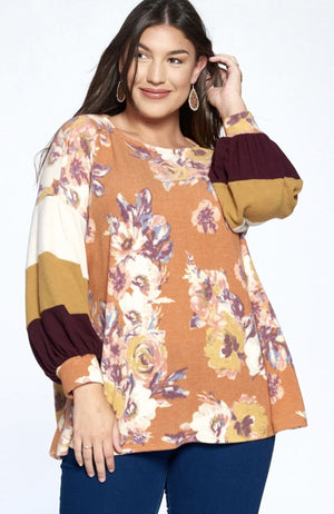 Rust Floral Hacci Brush Top With Baloon Sleeves