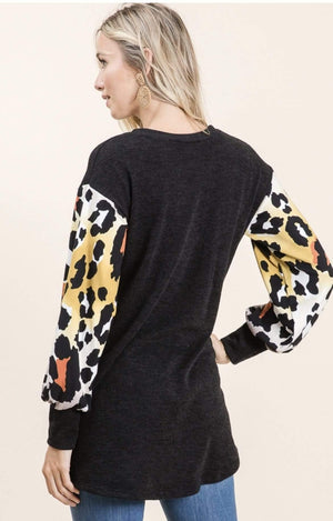 Black Animal Print Sleeve Top - Hello, Sunshine Market