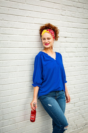 Royal Blue Ruffle Sleeve V-Neck Top