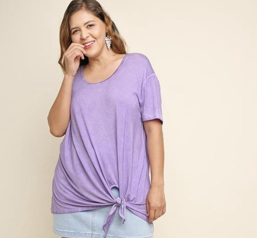 (XL, 1XL) - Purple Washed Short Sleeve Top With Waist Knot - Hello, Sunshine Market