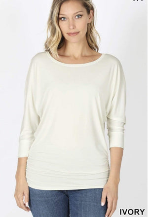 Ivory Boat Neck Dolman Top - Hello, Sunshine Market