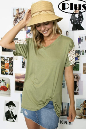 Olive Twist Knot Top With Lace Sleeve - Hello, Sunshine Market