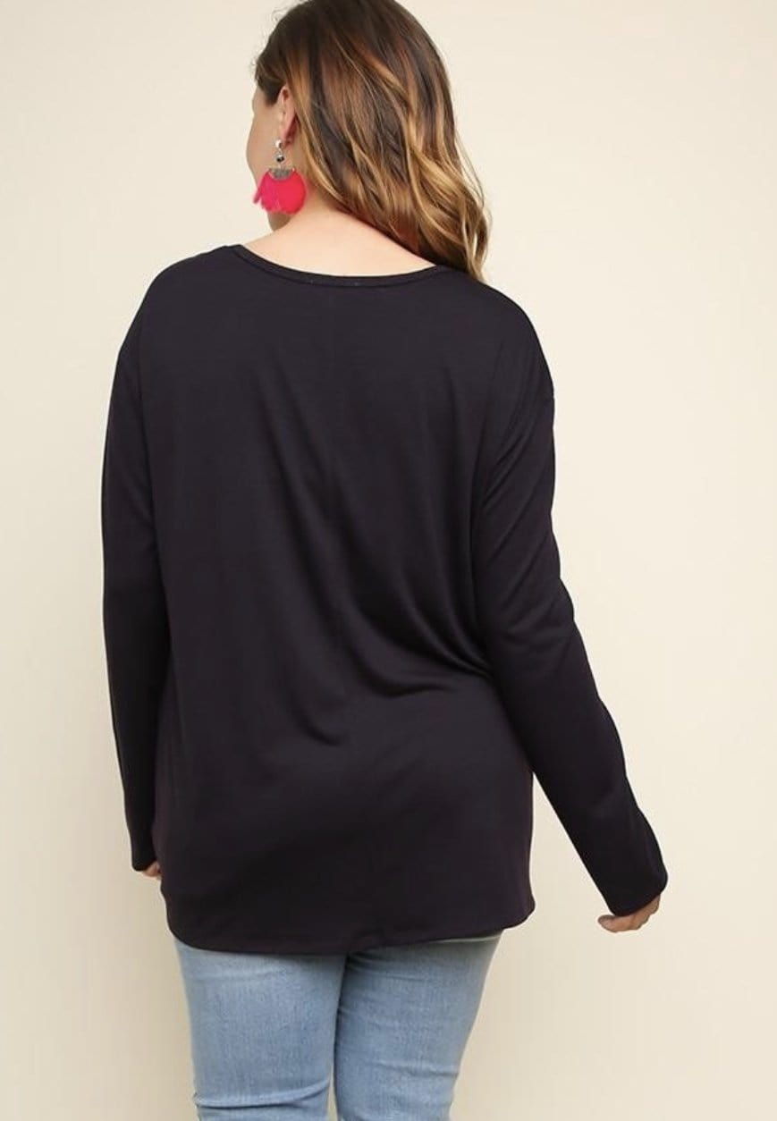 Eggplant Long Sleeve Top With Front Tie - Hello, Sunshine Market