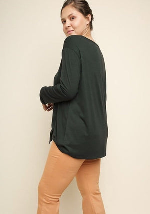 Forest Green Long Sleeve Top With Front Tie