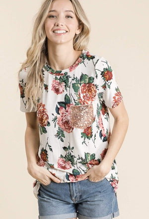 Floral Print With Sequin Pocket