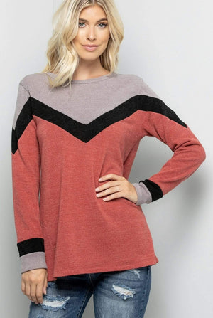 Brick Color Block Sweater