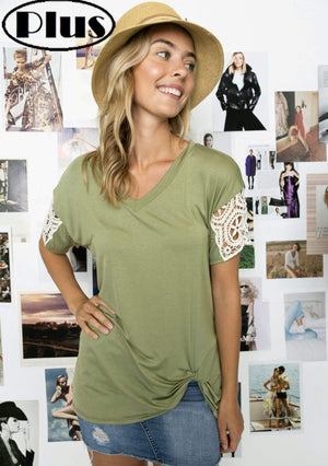 Olive Twist Knot Top With Lace Sleeve
