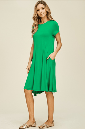 (Large) - Kelly Green Knit Midi Dress With Side Pockets - Hello, Sunshine Market
