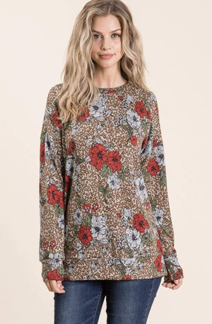 Taupe Floral And Cheetah Print Top
