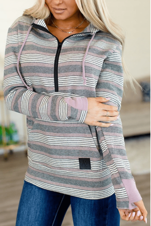 HalfZip Hoodie- Purple/Black Stripes - Hello, Sunshine Market