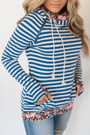 Doublehood© Sweatshirt - Blue Striped Floral - Hello, Sunshine Market