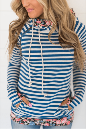 Doublehood© Sweatshirt - Blue Striped Floral